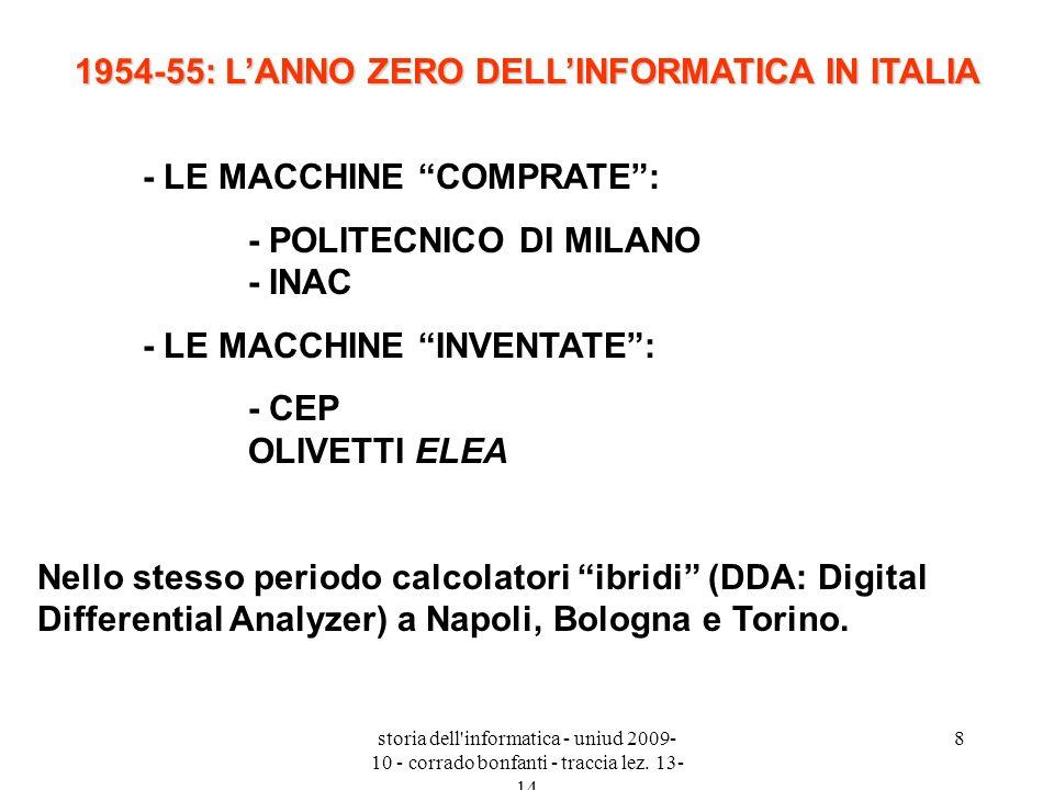 storia dell'informatica - uniud 2009- 10 - corrado bonfanti - traccia lez. 13- 14 8 1954-55: LANNO ZERO DELLINFORMATICA IN ITALIA - LE MACCHINE COMPRA