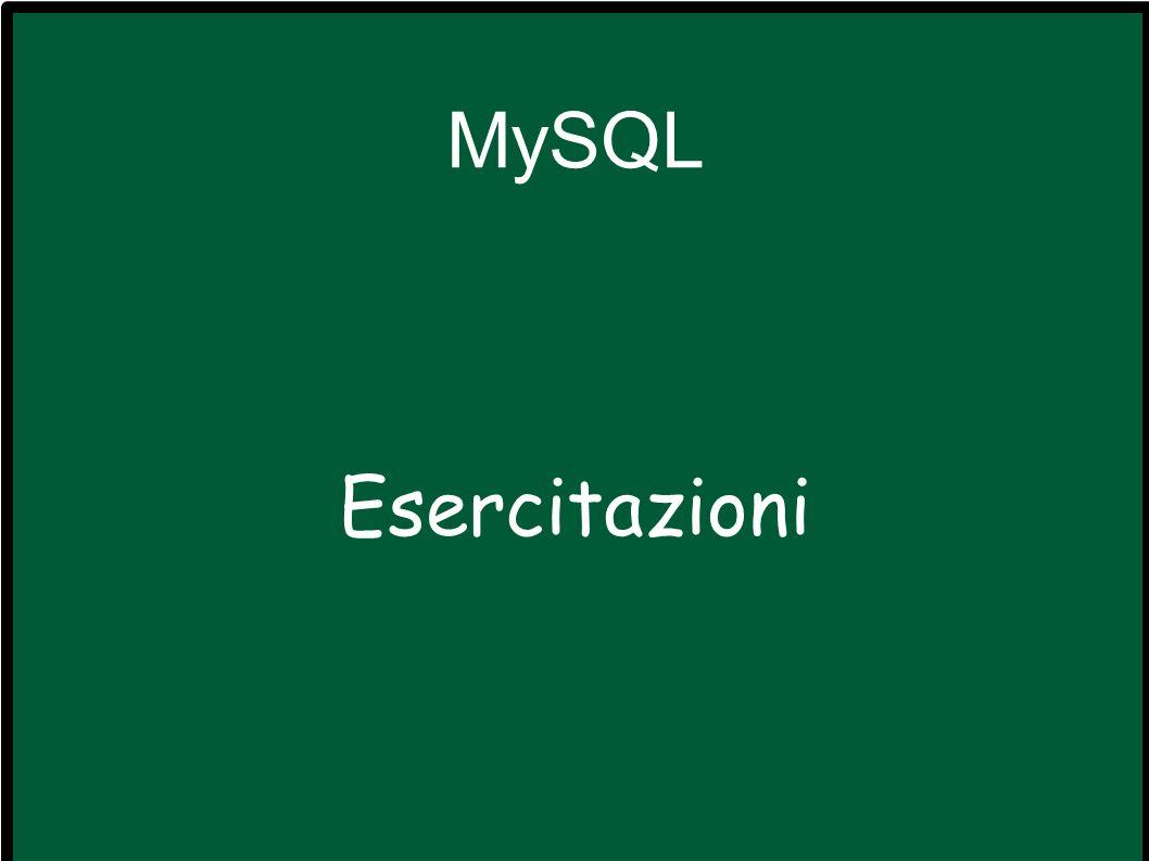 Ripasso Connessione a MySQL.Creazione delle basi di dati e delle tablelle.