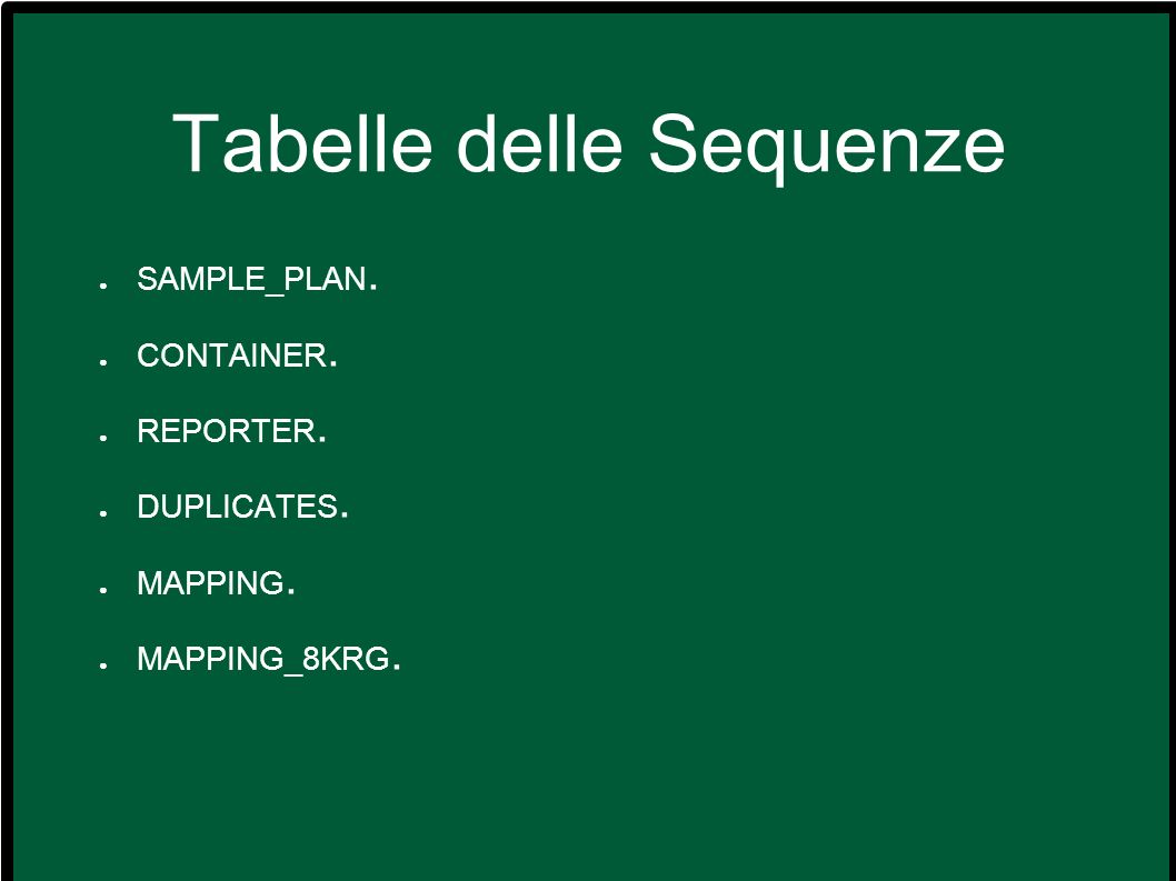 Soluzioni – Esercizio 3 Distinct – select distinct(BLAST_EST.Reporter_ID) from BLAST_EST where BLAST_EST.HomologyPerc > 99 order byReporter_ID; Count – select Reporter_ID, count(Ordr) from BLAST_NORM group by Reporter_ID; – select Reporter_ID, count(Ordr) from BLAST_NORM group by Reporter_ID having E_Value_Best_Match > 1e-100; Order by e limit – select Reporter_ID, E_Value_Best_Match, Chromosome from BLAST_GEN where E_Value_Best_Match=1e-100 order by Chromosome limit 0,30