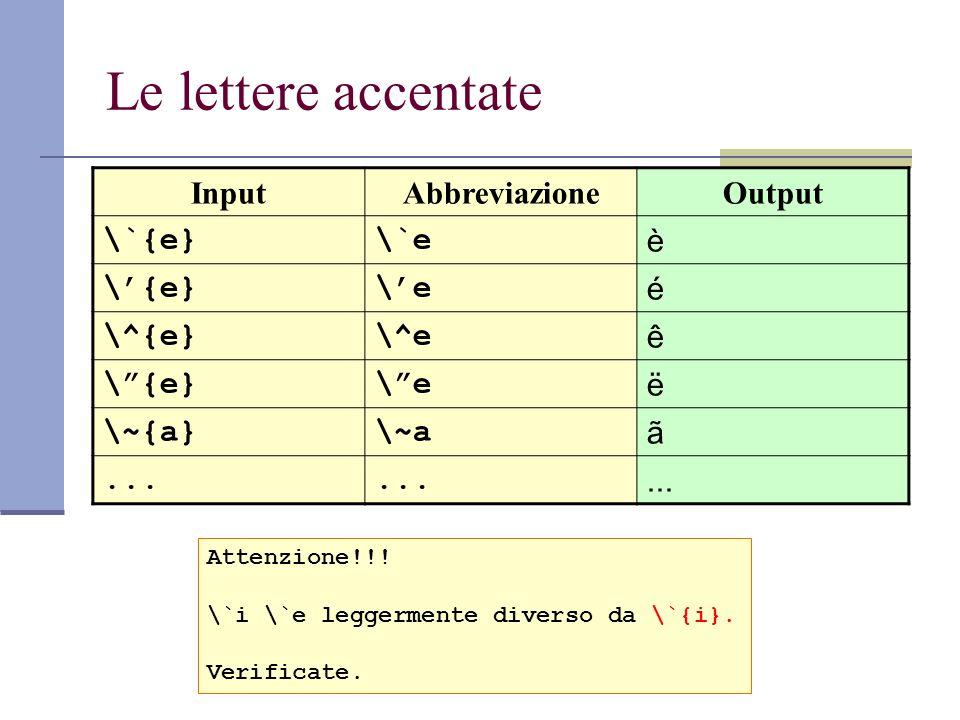 Le lettere accentate InputAbbreviazioneOutput \`{e}\`e è \{e}\e é \^{e}\^e ê \{e}\e ë \~{a}\~a ã... Attenzione!!! \`i \`e leggermente diverso da \`{i}