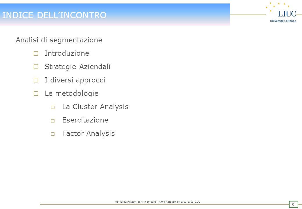 30 Metodi quantitativi per il marketing – Anno Accademico 2012-2013 LIUC Esempio: file clima, domanda dimp_1-dimp_35 Individuazione obiettivi: 1.Quanti e quali fattori possiamo individuare.