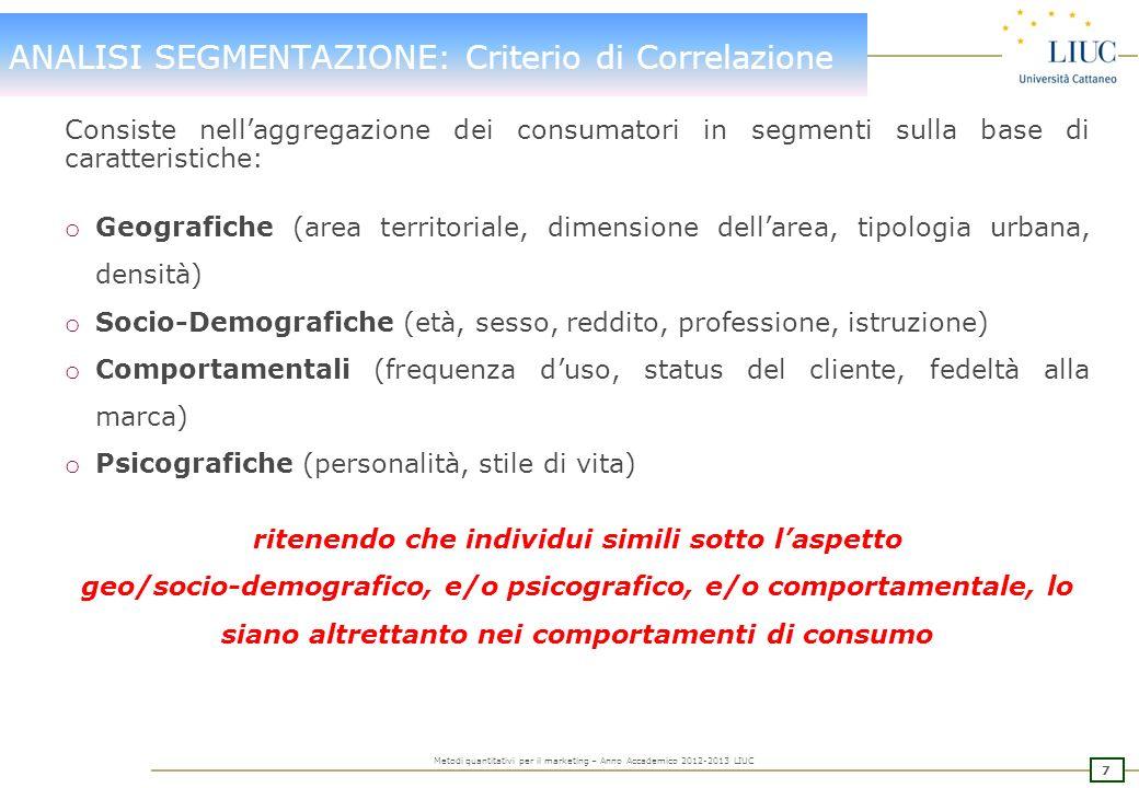 27 Metodi quantitativi per il marketing – Anno Accademico 2012-2013 LIUC ANALISI DI SEGMENTAZIONE: FACTOR ANALYSIS Varianza totale spiegata.
