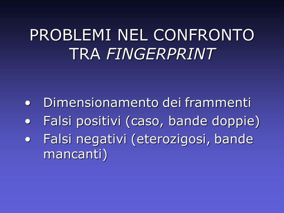 PROBLEMI NEL CONFRONTO TRA FINGERPRINT Dimensionamento dei frammentiDimensionamento dei frammenti Falsi positivi (caso, bande doppie)Falsi positivi (c