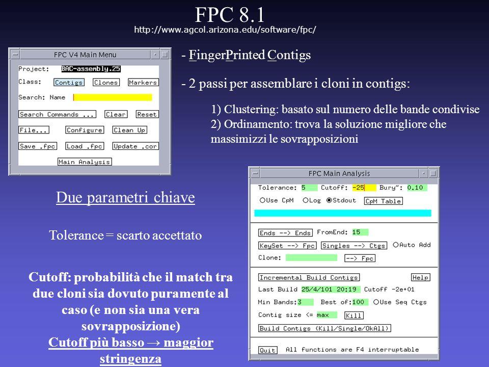 Due parametri chiave Tolerance = scarto accettato Cutoff: probabilità che il match tra due cloni sia dovuto puramente al caso (e non sia una vera sovr