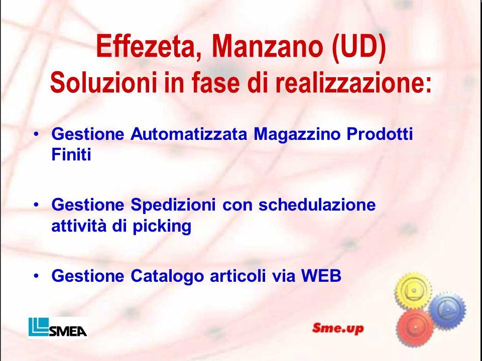 Effezeta, Manzano (UD) Soluzioni in fase di realizzazione: Gestione Automatizzata Magazzino Prodotti Finiti Gestione Spedizioni con schedulazione atti