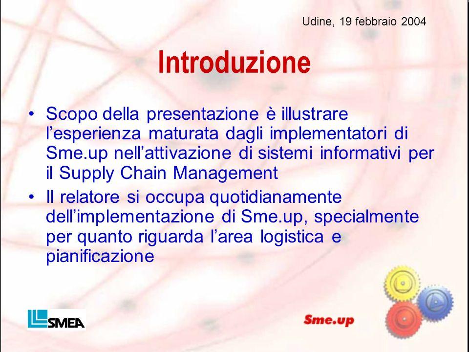 Introduzione Scopo della presentazione è illustrare lesperienza maturata dagli implementatori di Sme.up nellattivazione di sistemi informativi per il