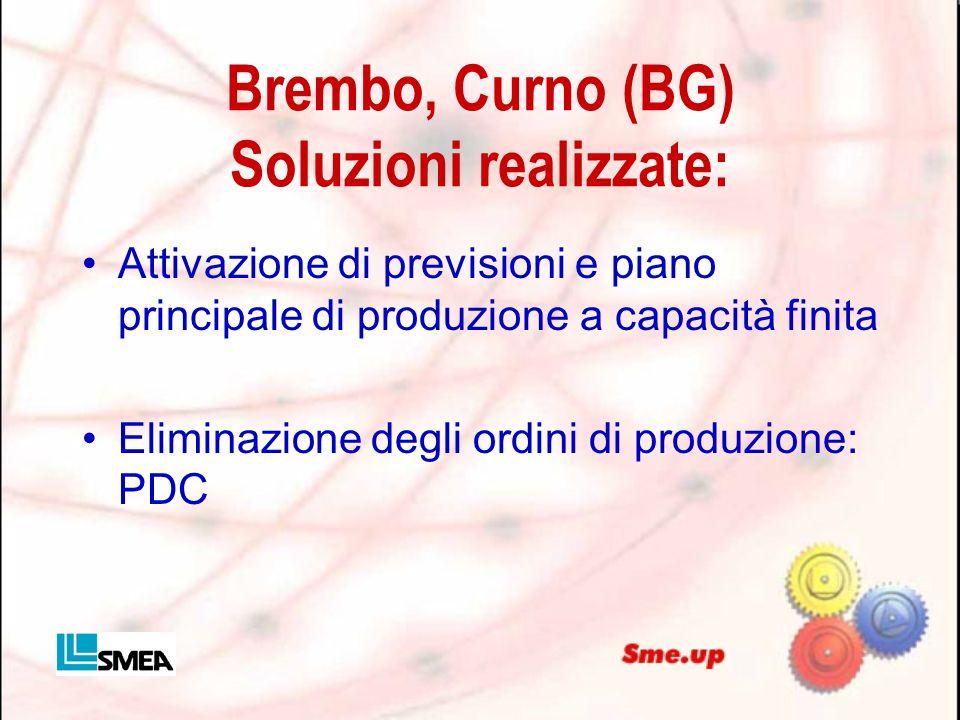 Brembo, Curno (BG) Soluzioni realizzate: Attivazione di previsioni e piano principale di produzione a capacità finita Eliminazione degli ordini di pro