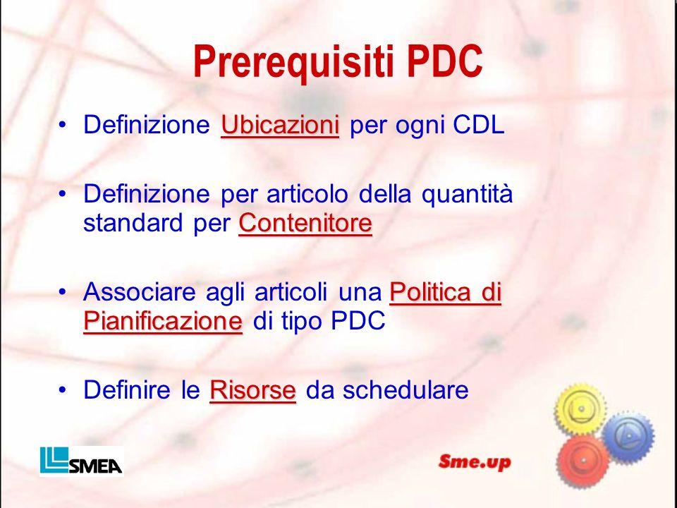 Prerequisiti PDC UbicazioniDefinizione Ubicazioni per ogni CDL ContenitoreDefinizione per articolo della quantità standard per Contenitore Politica di