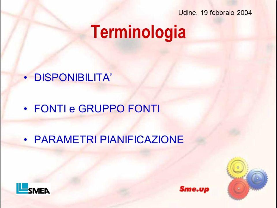 Terminologia DISPONIBILITA FONTI e GRUPPO FONTI PARAMETRI PIANIFICAZIONE Udine, 19 febbraio 2004