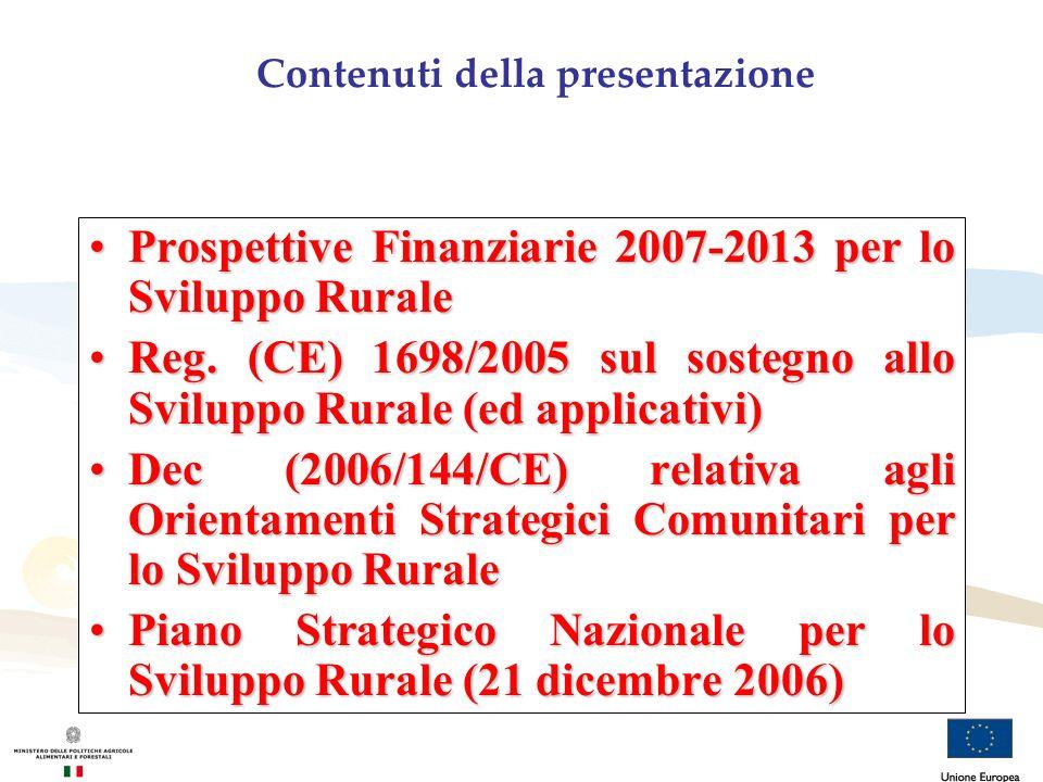 Il processo per la costruzione del Piano Strategico Nazionale sullo Sviluppo Rurale in Italia Conferenza Stato-Regioni Orientamenti nazionali per la redazione di un Piano Strategico Nazionale nel settore dello Sviluppo Rurale Decreto Ministro politiche agricole alimentari e forestali Istituzione di un Tavolo di Partenariato per condividere i contenuti del PSN - partenariato istituzionale; - partenariato socio-economico e ambientale Riunioni del Tavolo di partenariato Condivisione: -modalità organizzative; -struttura e contenuti del PSN; -documenti di approfondimento Approvazione PSN 31 ottobre e 21 dicembre 2006 approvazione PSN in Conferenza Stato-Regioni