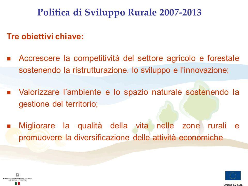 Politica di Sviluppo Rurale 2007-2013 Tre obiettivi chiave: n Accrescere la competitività del settore agricolo e forestale sostenendo la ristrutturazi