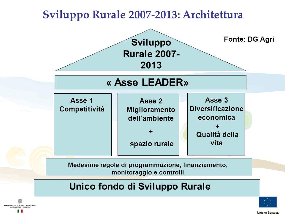 Sviluppo Rurale 2007-2013: Architettura Sviluppo Rurale 2007- 2013 « Asse LEADER» Asse 1 Competitività Asse 2 Miglioramento dellambiente + spazio rura
