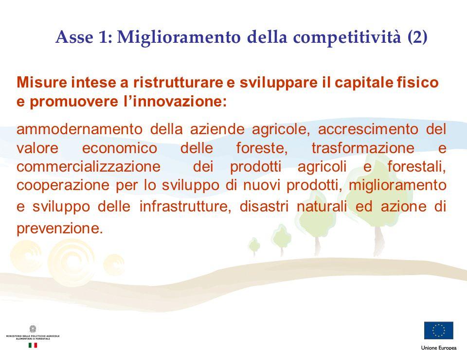Asse 1: Miglioramento della competitività (2) Misure intese a ristrutturare e sviluppare il capitale fisico e promuovere linnovazione: ammodernamento
