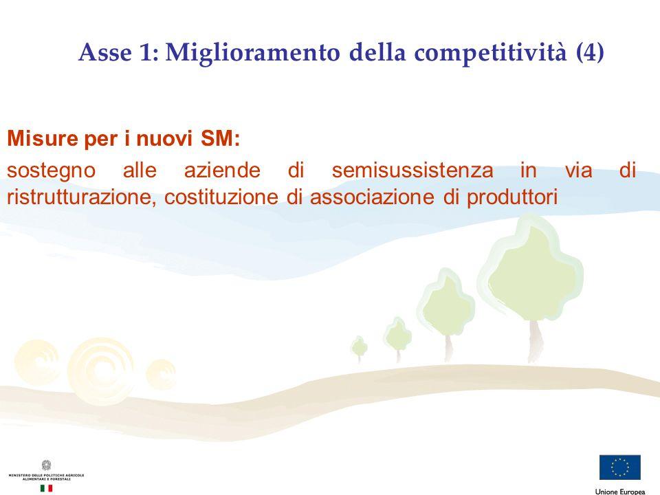 Asse 1: Miglioramento della competitività (4) Misure per i nuovi SM: sostegno alle aziende di semisussistenza in via di ristrutturazione, costituzione