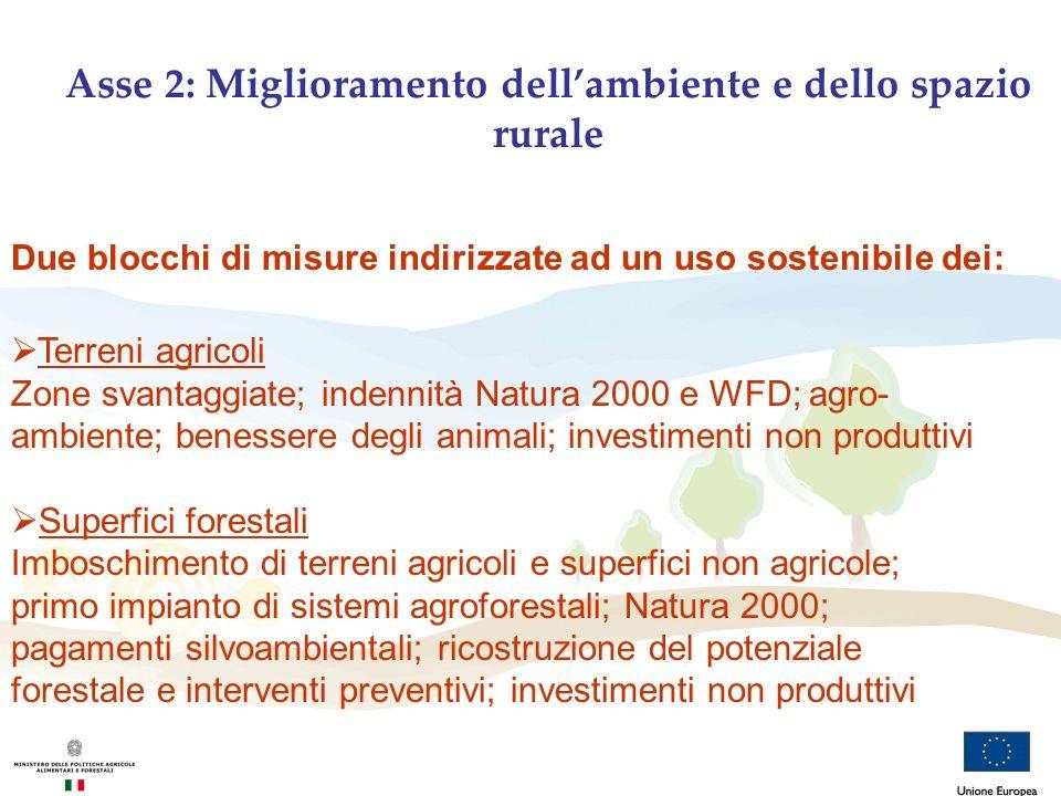 Due blocchi di misure indirizzate ad un uso sostenibile dei: Terreni agricoli Zone svantaggiate; indennità Natura 2000 e WFD; agro- ambiente; benesser