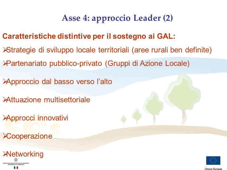 Asse 4: approccio Leader (2) Caratteristiche distintive per il sostegno ai GAL: Strategie di sviluppo locale territoriali (aree rurali ben definite) P