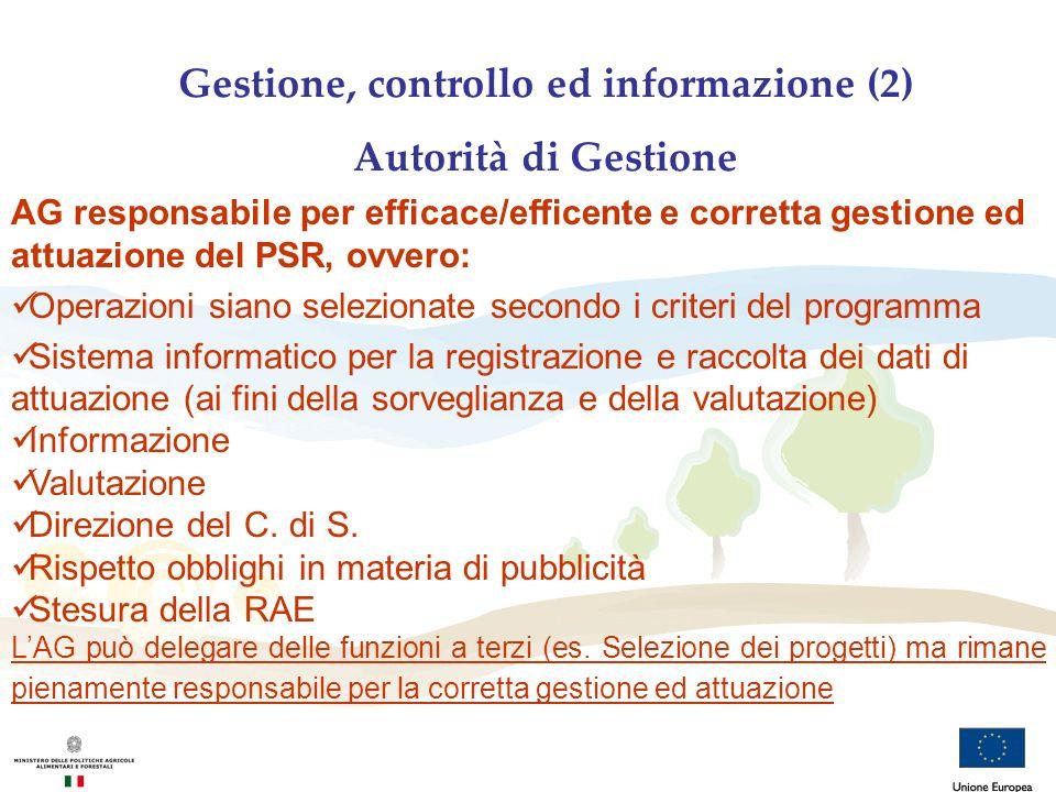 Gestione, controllo ed informazione (2) Autorità di Gestione AG responsabile per efficace/efficente e corretta gestione ed attuazione del PSR, ovvero: