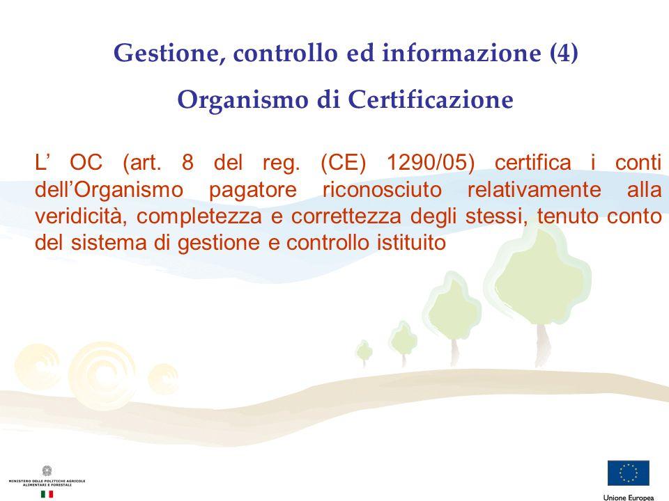 Gestione, controllo ed informazione (4) Organismo di Certificazione L OC (art. 8 del reg. (CE) 1290/05) certifica i conti dellOrganismo pagatore ricon