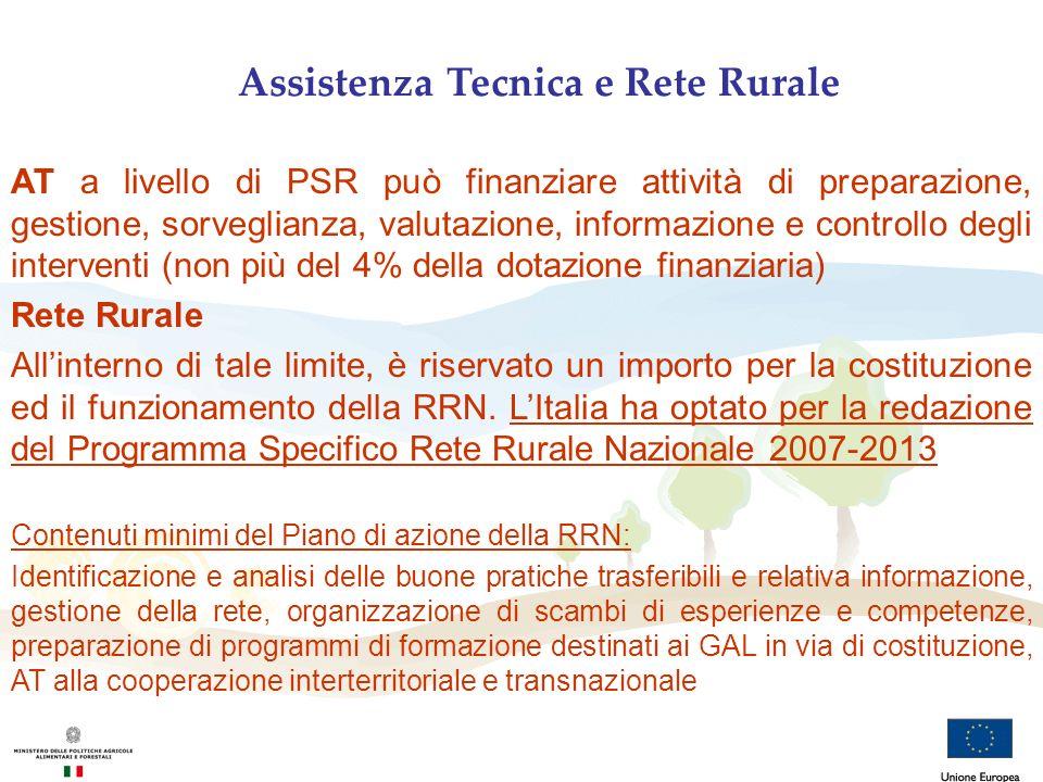 Assistenza Tecnica e Rete Rurale AT a livello di PSR può finanziare attività di preparazione, gestione, sorveglianza, valutazione, informazione e cont