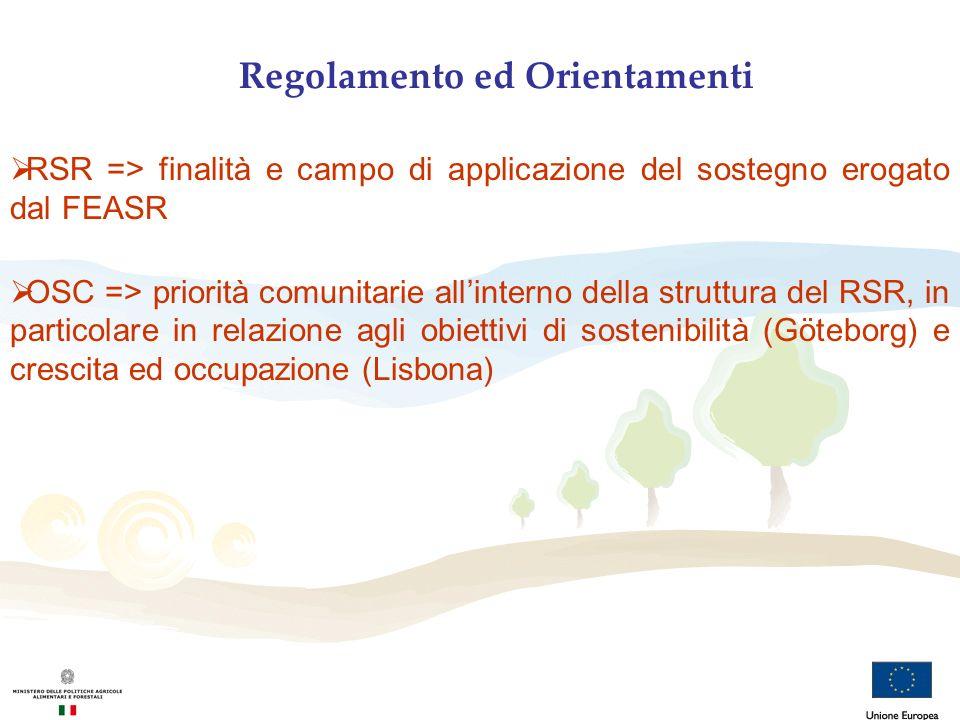 Regolamento ed Orientamenti RSR => finalità e campo di applicazione del sostegno erogato dal FEASR OSC => priorità comunitarie allinterno della strutt