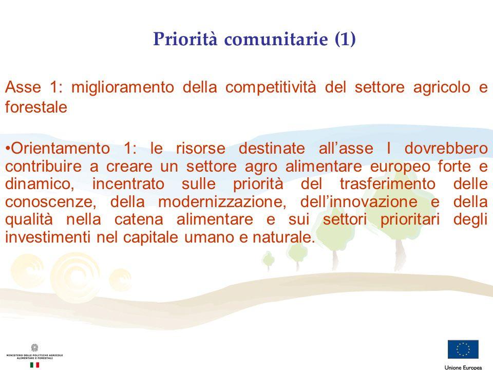 Priorità comunitarie (1) Asse 1: miglioramento della competitività del settore agricolo e forestale Orientamento 1: le risorse destinate allasse I dov