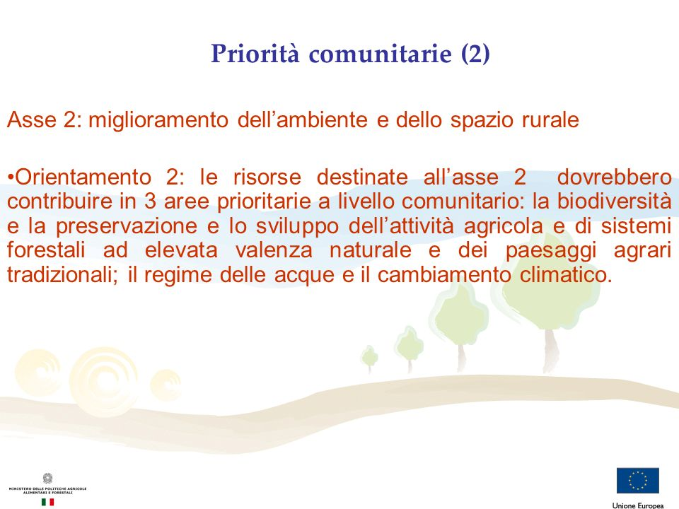 Priorità comunitarie (2) Asse 2: miglioramento dellambiente e dello spazio rurale Orientamento 2: le risorse destinate allasse 2 dovrebbero contribuir
