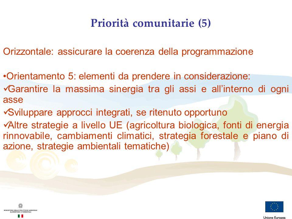 Priorità comunitarie (5) Orizzontale: assicurare la coerenza della programmazione Orientamento 5: elementi da prendere in considerazione: Garantire la