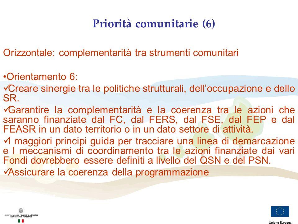 Priorità comunitarie (6) Orizzontale: complementarità tra strumenti comunitari Orientamento 6: Creare sinergie tra le politiche strutturali, delloccup