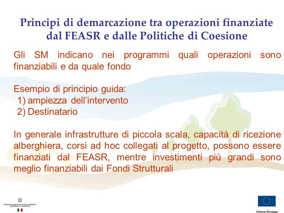 Principi di demarcazione tra operazioni finanziate dal FEASR e dalle Politiche di Coesione Gli SM indicano nei programmi quali operazioni sono finanzi