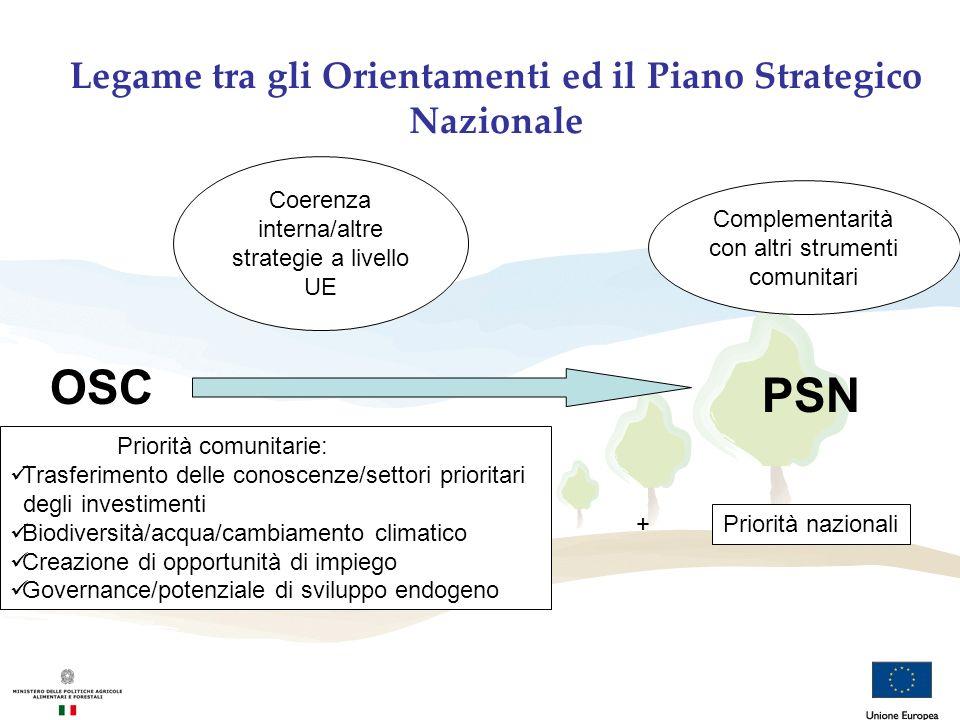 PSN OSC Coerenza interna/altre strategie a livello UE Complementarità con altri strumenti comunitari Priorità comunitarie: Trasferimento delle conosce