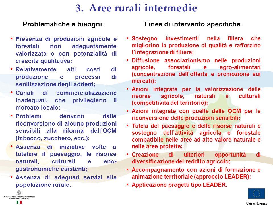 Problematiche e bisogni: Presenza di produzioni agricole e forestali non adeguatamente valorizzate e con potenzialità di crescita qualitativa; Relativ