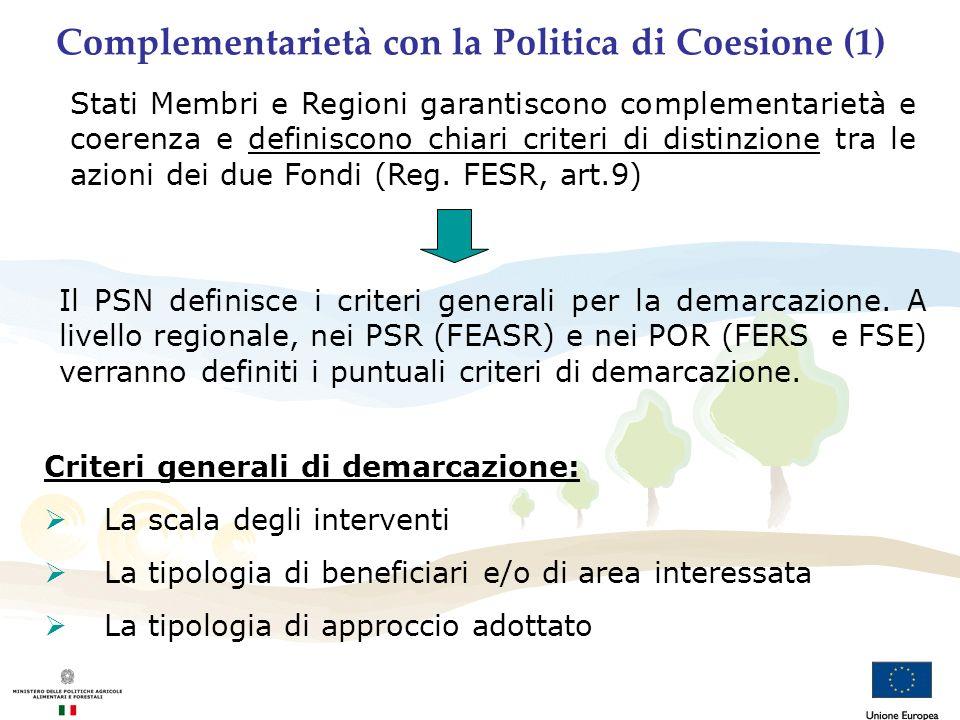 Complementarietà con la Politica di Coesione (1) Stati Membri e Regioni garantiscono complementarietà e coerenza e definiscono chiari criteri di disti