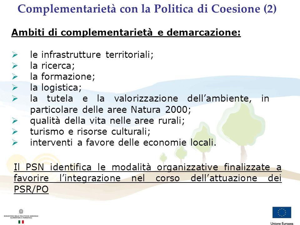 Ambiti di complementarietà e demarcazione: le infrastrutture territoriali; la ricerca; la formazione; la logistica; la tutela e la valorizzazione dell