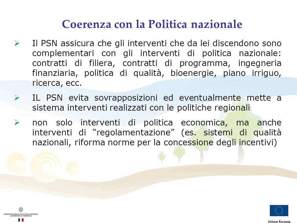 Coerenza con la Politica nazionale Il PSN assicura che gli interventi che da lei discendono sono complementari con gli interventi di politica nazional