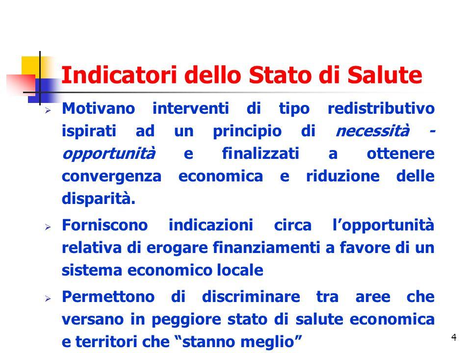 4 Indicatori dello Stato di Salute Motivano interventi di tipo redistributivo ispirati ad un principio di necessità - opportunità e finalizzati a ottenere convergenza economica e riduzione delle disparità.
