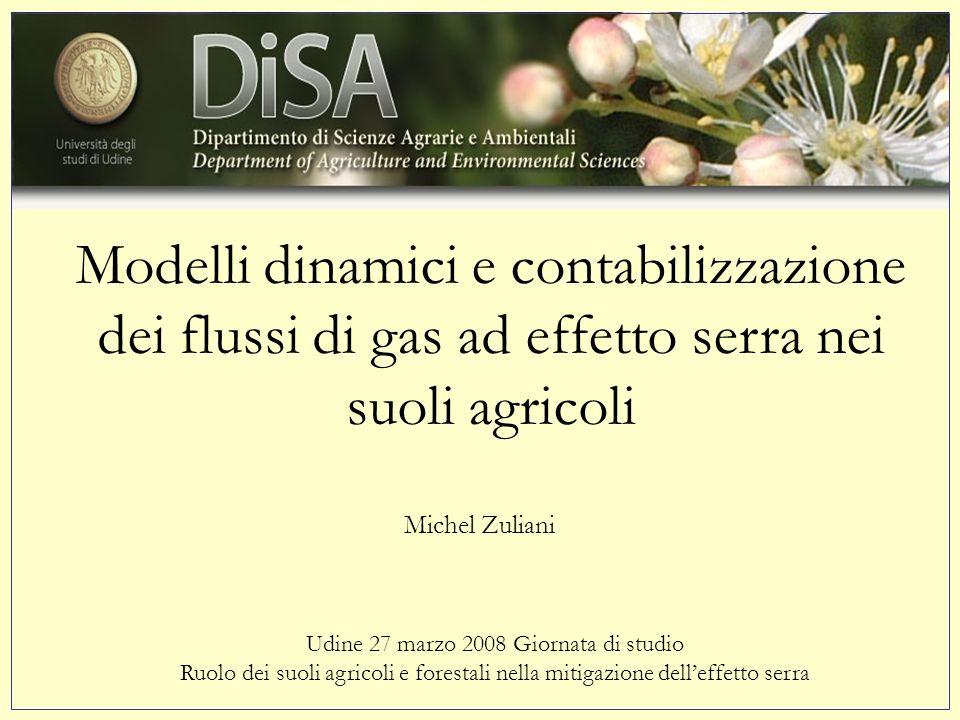 Modelli dinamici e contabilizzazione dei flussi di gas ad effetto serra nei suoli agricoli Udine 27 marzo 2008 Giornata di studio Ruolo dei suoli agricoli e forestali nella mitigazione delleffetto serra Michel Zuliani