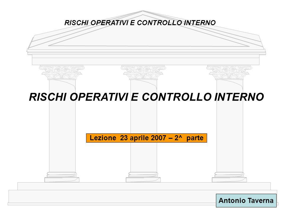 1 Antonio Taverna RISCHI OPERATIVI E CONTROLLO INTERNO Lezione 23 aprile 2007 – 2^ parte RISCHI OPERATIVI E CONTROLLO INTERNO