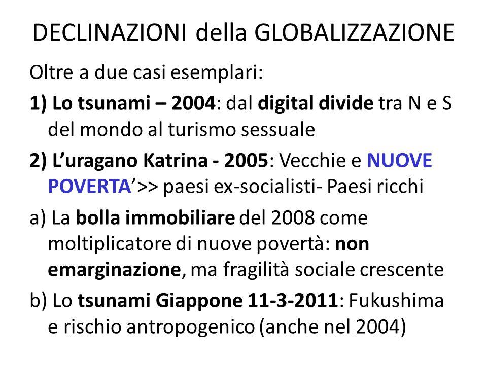 DECLINAZIONI della GLOBALIZZAZIONE Oltre a due casi esemplari: 1) Lo tsunami – 2004: dal digital divide tra N e S del mondo al turismo sessuale 2) Lur
