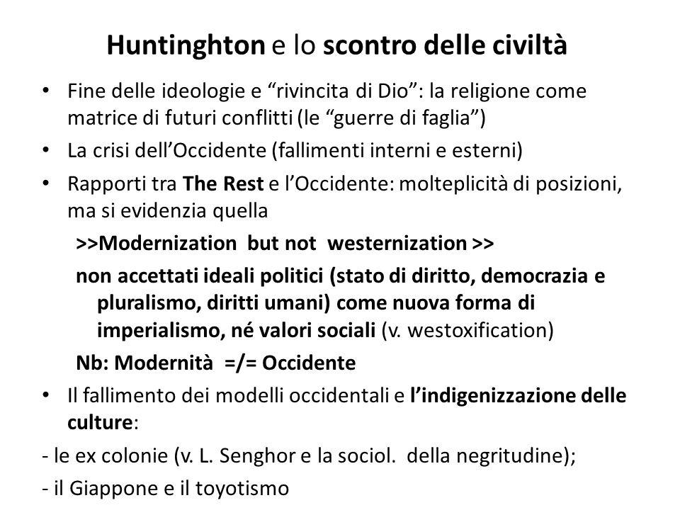 Huntinghton e lo scontro delle civiltà Fine delle ideologie e rivincita di Dio: la religione come matrice di futuri conflitti (le guerre di faglia) La