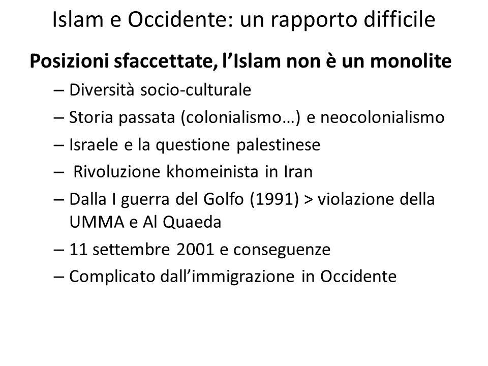 Islam e Occidente: un rapporto difficile Posizioni sfaccettate, lIslam non è un monolite – Diversità socio-culturale – Storia passata (colonialismo…)