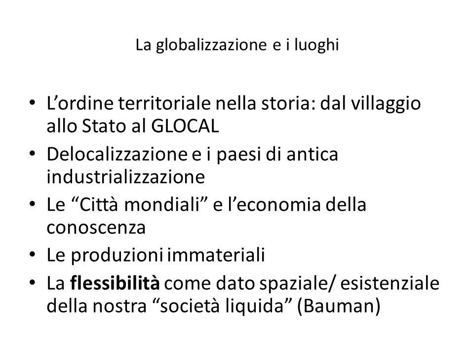 La globalizzazione e i luoghi Lordine territoriale nella storia: dal villaggio allo Stato al GLOCAL Delocalizzazione e i paesi di antica industrializz