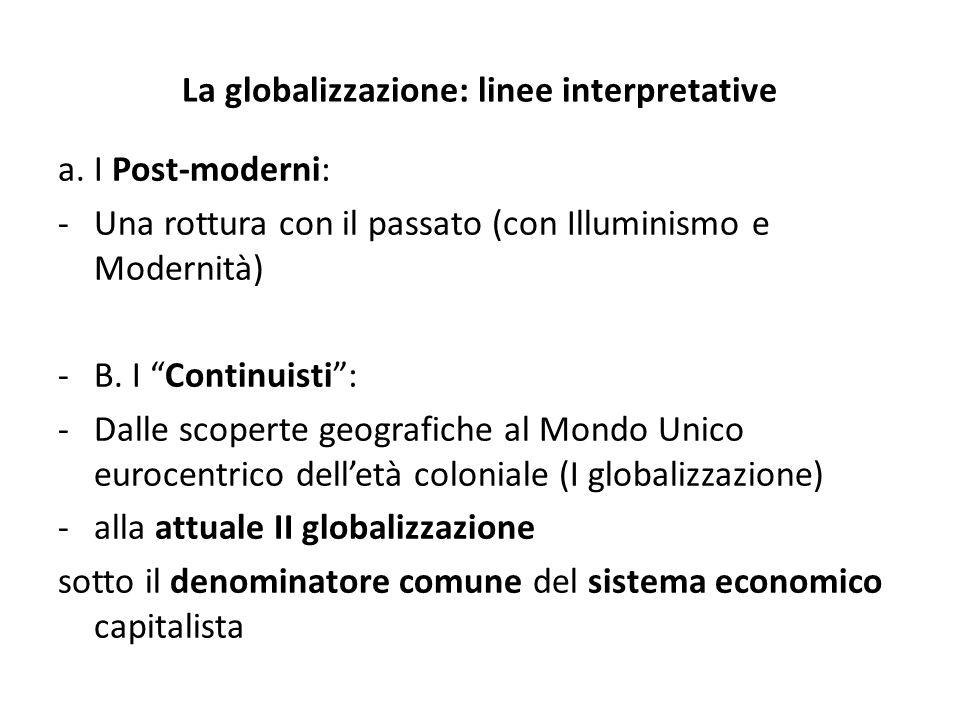 La globalizzazione: linee interpretative a. I Post-moderni: -Una rottura con il passato (con Illuminismo e Modernità) -B. I Continuisti: -Dalle scoper