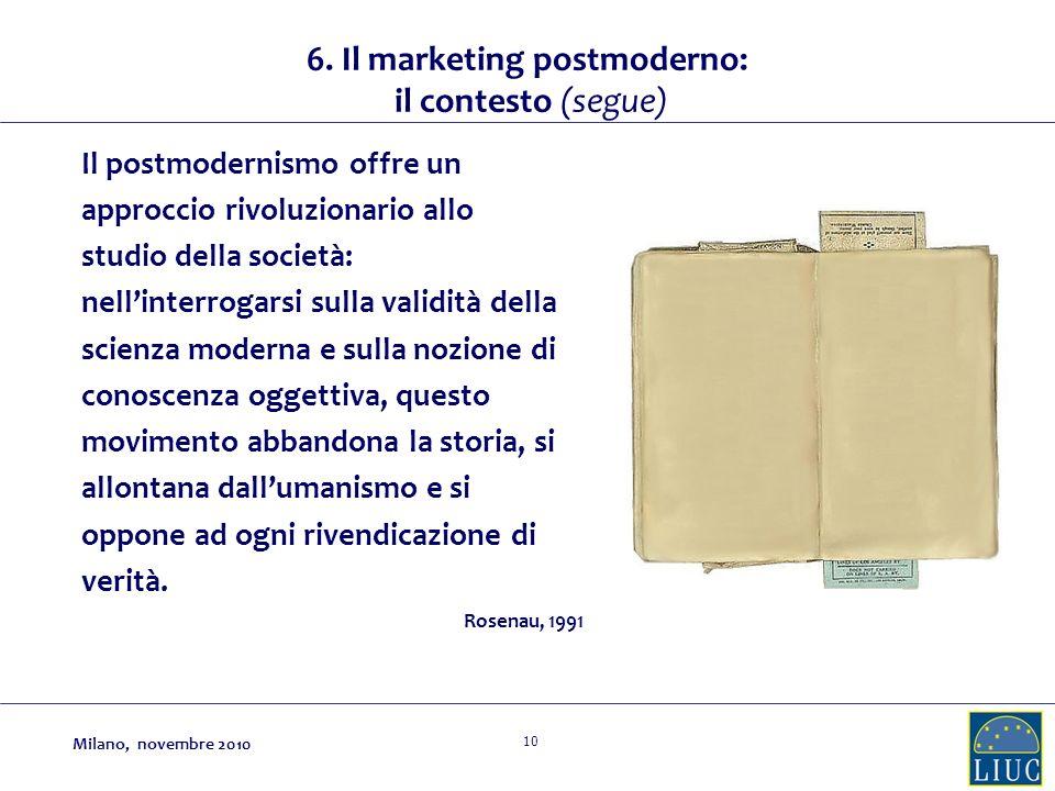 10 Il postmodernismo offre un approccio rivoluzionario allo studio della società: nellinterrogarsi sulla validità della scienza moderna e sulla nozione di conoscenza oggettiva, questo movimento abbandona la storia, si allontana dallumanismo e si oppone ad ogni rivendicazione di verità.