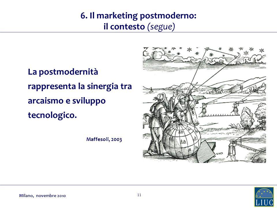 11 La postmodernità rappresenta la sinergia tra arcaismo e sviluppo tecnologico. Maffesoli, 2003 6. Il marketing postmoderno: il contesto (segue) Mila