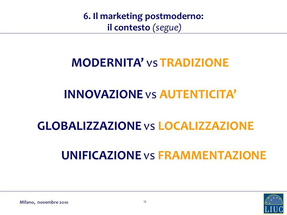 12 INNOVAZIONE vs AUTENTICITA GLOBALIZZAZIONE vs LOCALIZZAZIONE UNIFICAZIONE vs FRAMMENTAZIONE MODERNITA vs TRADIZIONE 6. Il marketing postmoderno: il