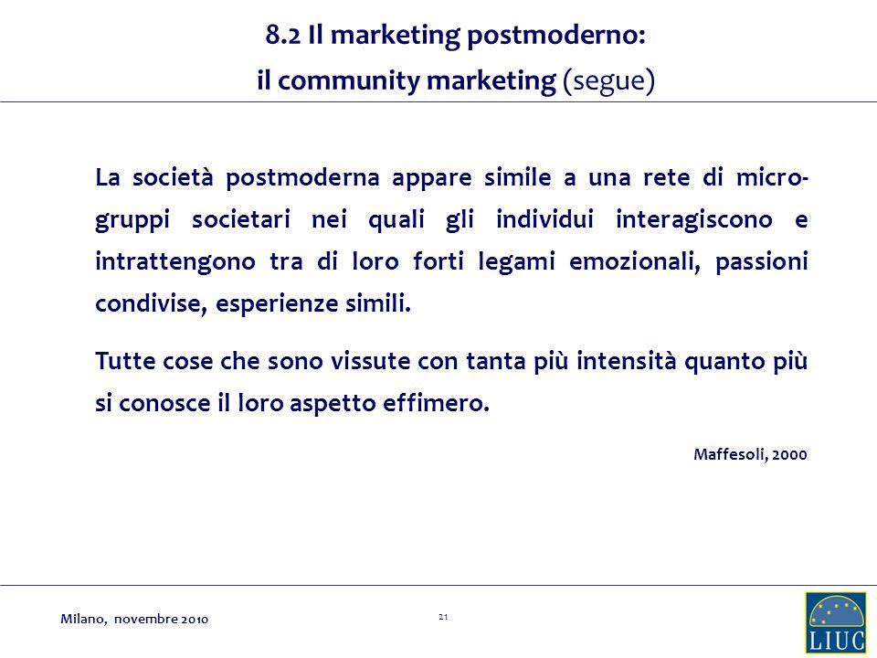 21 La società postmoderna appare simile a una rete di micro- gruppi societari nei quali gli individui interagiscono e intrattengono tra di loro forti legami emozionali, passioni condivise, esperienze simili.