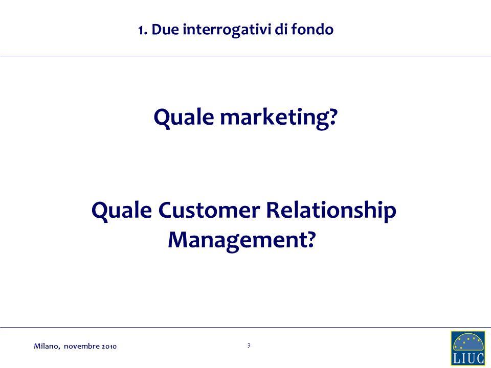 24 Quale Customer Relationship Management? Milano, novembre 2010