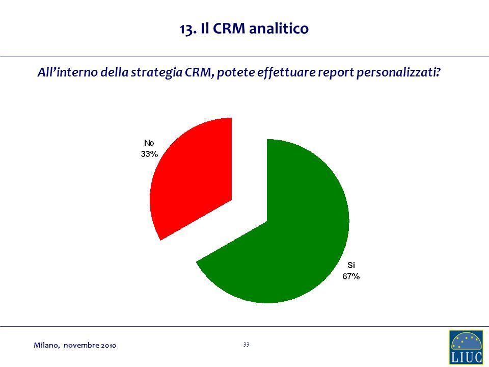 33 Allinterno della strategia CRM, potete effettuare report personalizzati? 13. Il CRM analitico Milano, novembre 2010