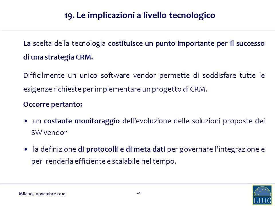 42 La scelta della tecnologia costituisce un punto importante per il successo di una strategia CRM.