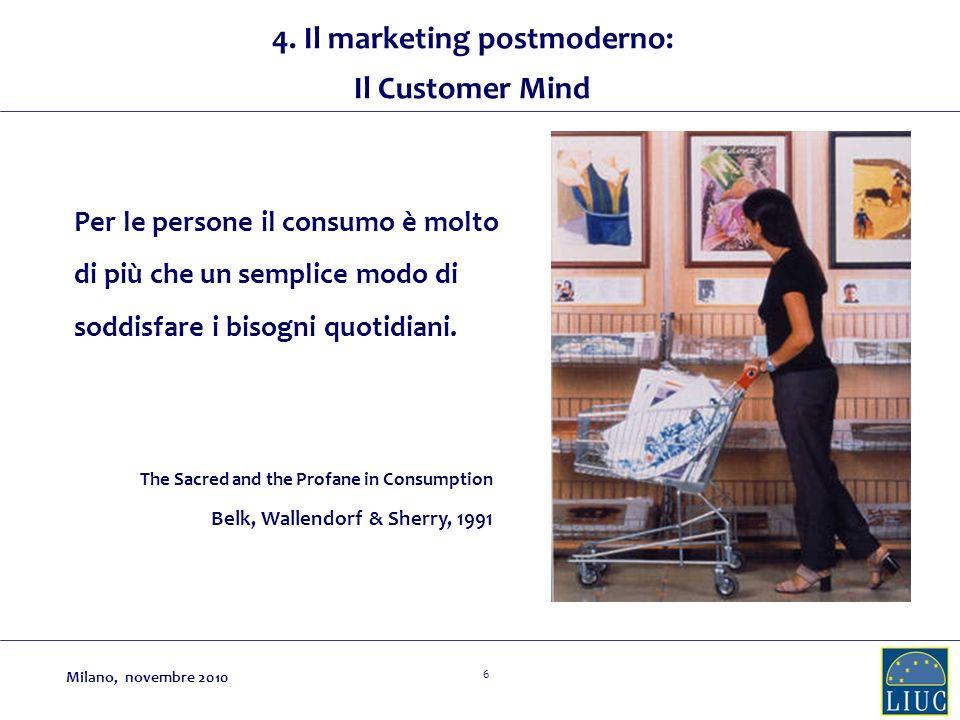 6 4. Il marketing postmoderno: Il Customer Mind Per le persone il consumo è molto di più che un semplice modo di soddisfare i bisogni quotidiani. The